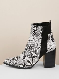 Snake Pointy Toe Elastic Gore Chunky Heel Booties
