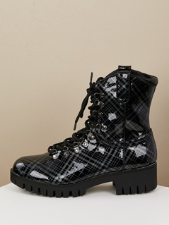 Patent PU Plaid Lace Up Lug Sole Combat Boots