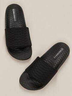 Croco Embossed Slip On Flatform Footbed Slippers