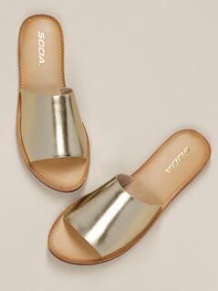 Metallic Leatherette Open Toe Slip on Flat Sandals