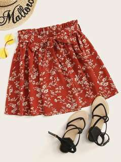 Paperbag Waist Floral Print Self Belted Skirt