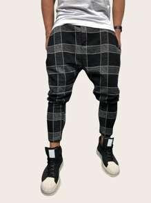 Men Plaid Pocket Pants