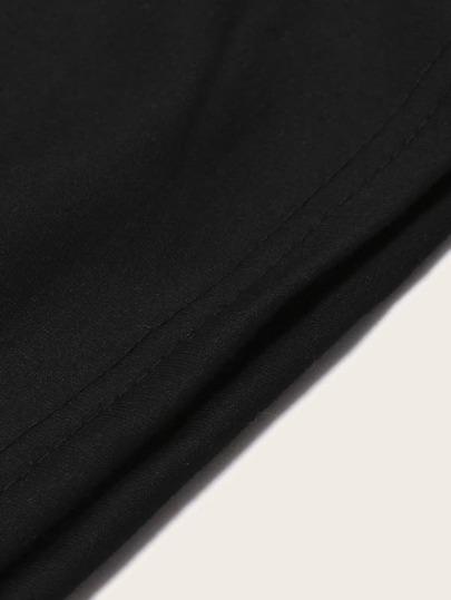 Фото 5 - Однотонная футболка с кулиской от SheIn белого цвета
