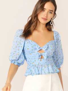 Shirred Back Bow Front Ditsy Floral Peplum Blouse