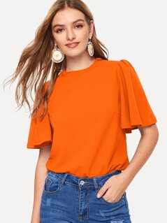Neon Orange Flutter Sleeve Top