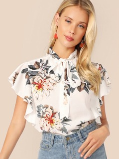 Tie Neck Ruffle Armhole Floral Print Top