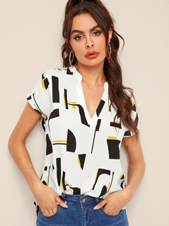Notch Neck Curved Hem Geo Print Top