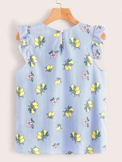 Фото 2 - Асимметричное платье м завязкой и графическим принтом от SheIn цвет тёмно-синие