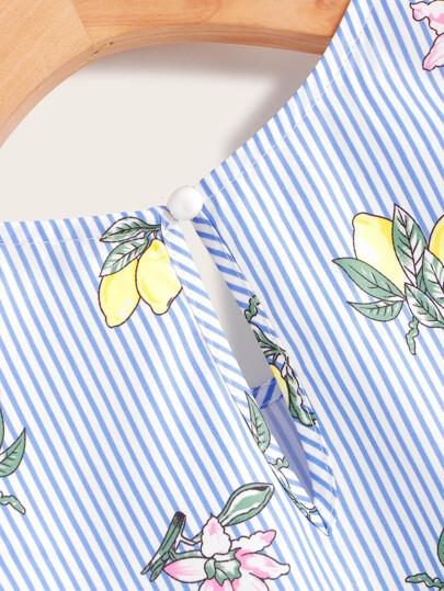 Фото 4 - Асимметричное платье м завязкой и графическим принтом от SheIn цвет тёмно-синие