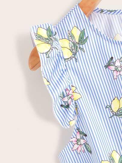 Фото 3 - Асимметричное платье м завязкой и графическим принтом от SheIn цвет тёмно-синие