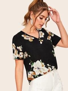 V-neck Floral Print Top