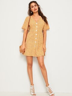 Single Breasted Dalmatian Print Tea Dress