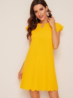 Keyhole Neck Scallop Edge Tunic Dress