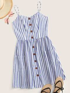 Button Front Patch Pocket Striped Slip Dress
