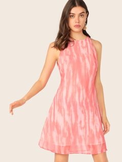 Zip Back Tie Dye Sleeveless Dress