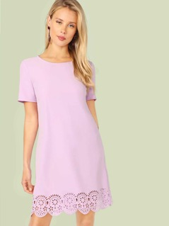 Laser Cut Scallop Hem Tunic Dress