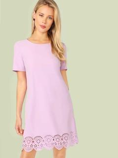 Laser Cut Scallop Hem Tunic Dress