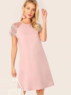Layered Embroidered Mesh Raglan Sleeve Tunic Dress
