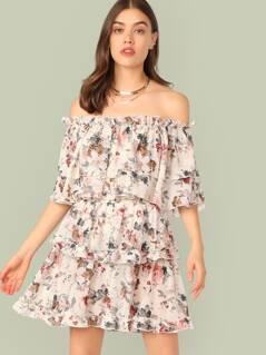 Off Shoulder Ruffle Trim Floral Print Layered Dress