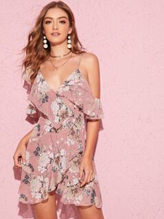 Botanical Print Cold Shoulder Ruffle Wrap Dress