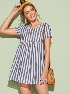 Striped Button Front Babydoll Dress