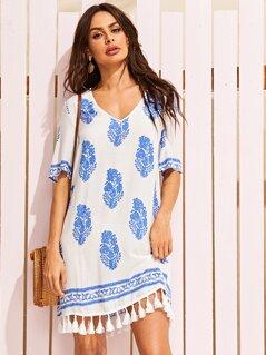 Tassel Hem Tribal Print Tunic Dress