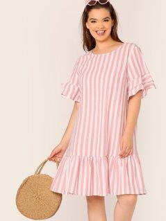 Plus Ruffle Trim Drop Waist Striped Dress