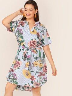 Plus V-neck Striped & Floral Print Curved Hem Dress