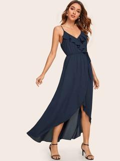 Ruffle Trim Tie Waist Wrap Asymmetrical Cami Dress