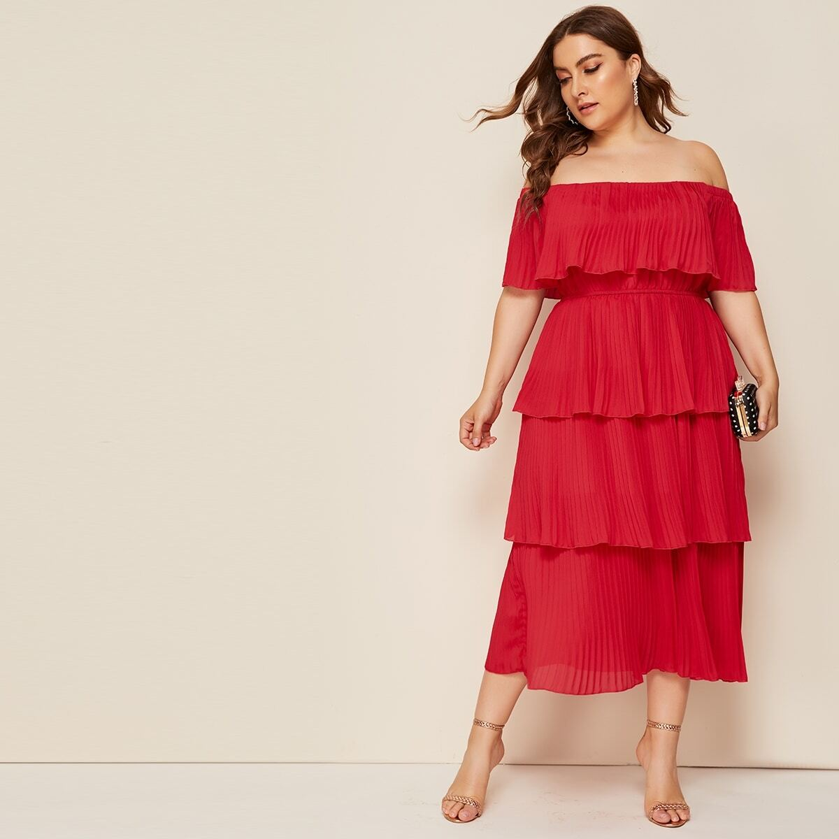 Rood Elegant Vlak Grote maten jurken Laagjes