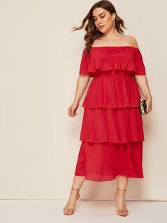 Plus Pleat Layered Ruffle Trim Bardot Dress
