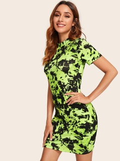 Mock Neck Tie Dye Bodycon Dress
