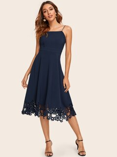 Laser Cut Hem Fit and Flare Cami Dress