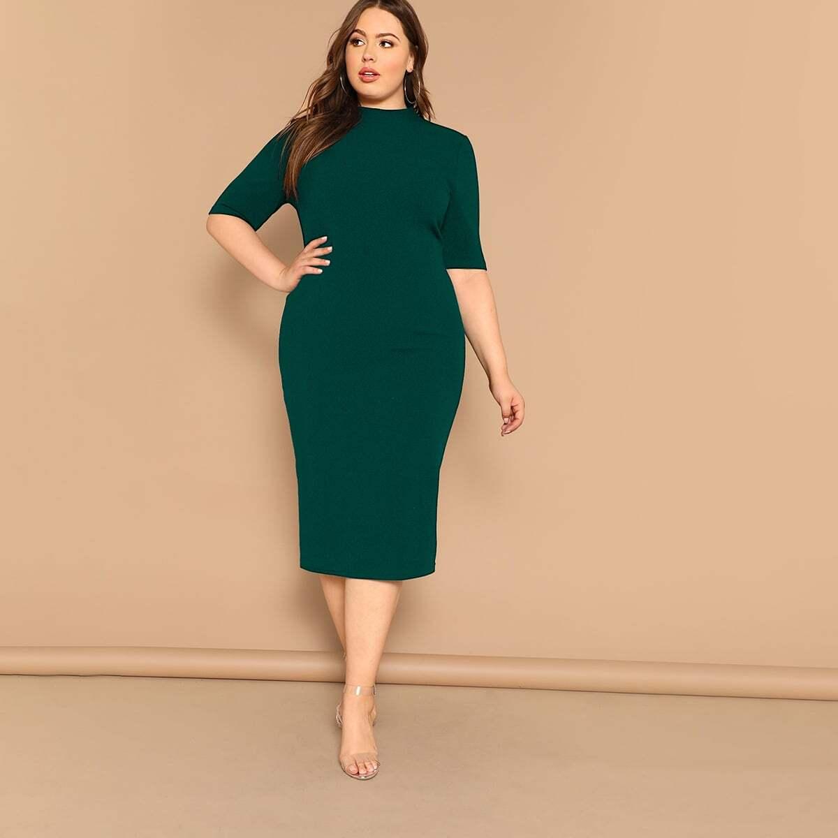 Groen Op de werkvloer Vlak Grote maten jurken