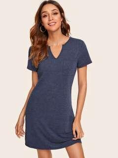 V-cut Neck Pocket Patched T-Shirt Dress
