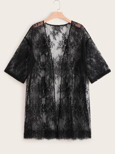 Plus Floral Sheer Lace Kimono