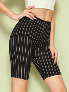 O-ring Zip Front Striped Leggings Shorts
