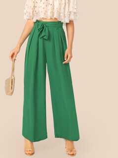 Fold Pleat Belted Palazzo Pants