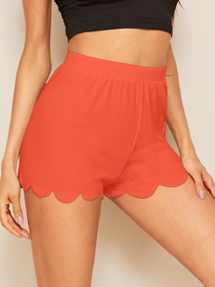 Neon Orange Scallop Edge Rib-knit Shorts
