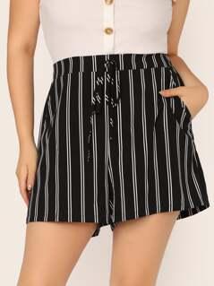 Plus Slant Pocket Striped Shorts
