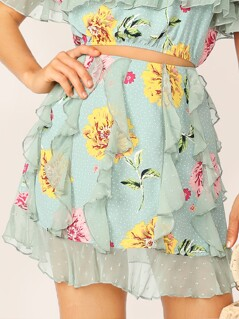 Flower & Polka Dot Print Ruffle Skirt