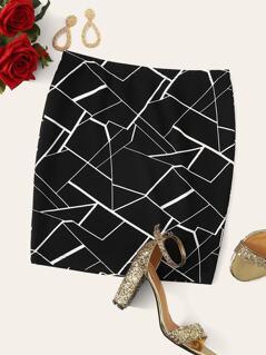 Plus Geometric Print Bodycon Skirt