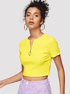 Neon Yellow O-ring Zip Front Rib-knit Tee
