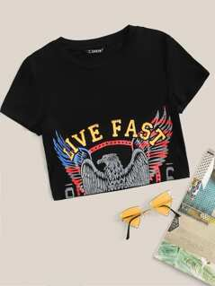 Crop Eagle and Letter Print Top