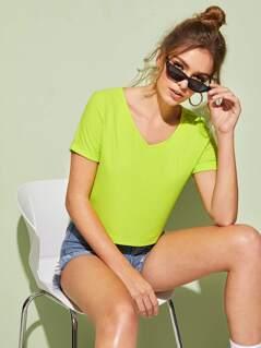 Neon Lime V-cut Rib-Knit Tee