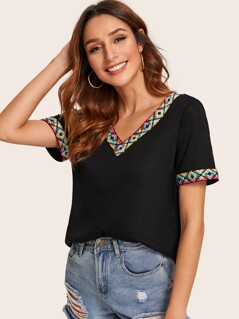 Embroidered Tape Trim T-shirt