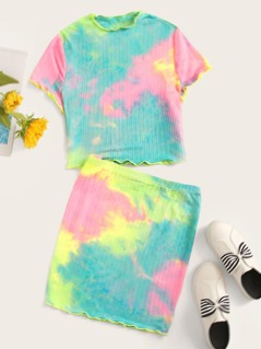 Lettuce Trim Rib-knit Tie Dye Top & Skirt Set