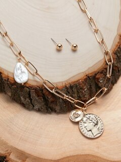 Coin And Pearl Chain Necklace And Stud Earrings