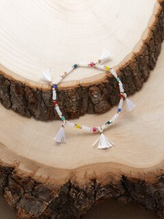 Fringe Detail Rainbow Contrast Beaded Elastic Bracelet