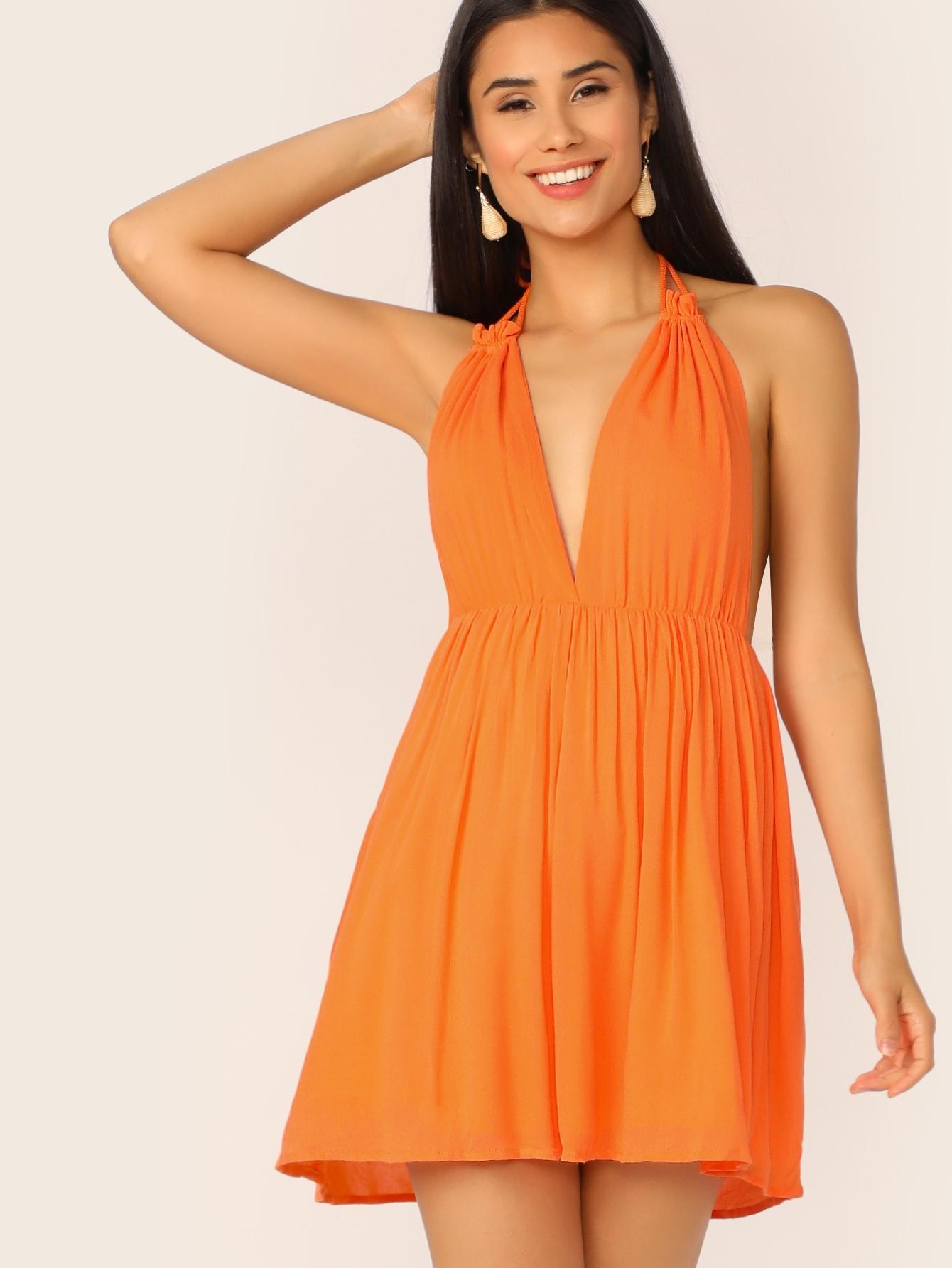 Фото - Неоновое платье с халмером и глубоким V-образным вырезом от SheIn цвет оранжевые